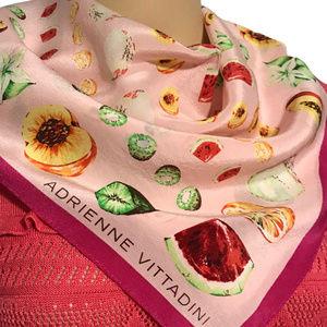 ADRIENNE VITTADINI Silk Fruit Scarf Pink